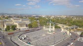 memorial : Aerial video shows the Heroes Square in downtown Budapest, Hungary - 4K drone footage. Aerial view Stock Footage
