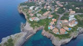 calçada : Aerial view landscape of the beautiful bay of Cala Anguila with a wonderful turquoise sea, Porto Cristo, Majorca, Spain