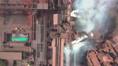 polluting : Aerial view. Old factory. Stock Footage