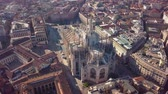 milano : Aerial drone footage of famous statue on cathedral Duomo in Milan Italy
