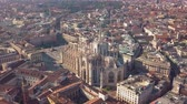 lombardia : Aerial drone footage of famous statue on cathedral Duomo of Milan Italy