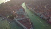 waterway : Aerial view. Beautiful Skyline Sunset in Venice Grand Canal Italy