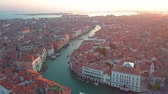 marco : Aerial panoramic view of cityscape of Venice, Grand Canal in famous historical City of Water, clear blue sky, landscape panorama of Italy from above, Europe Filmati Stock