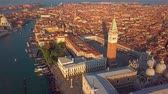 marco : aerial orbit over san marco square at sunrise in venice italy