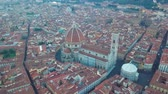 Флоренция : Aerial view on the city and Cathedral of Santa Maria del Fiore. Florence, Tuscany, Italy Стоковые видеозаписи