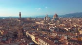 renesans : Aerial panoramic view of cityscape in Florence, Italy. Cathedral di Santa Maria del Fiore. Wideo