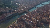 toszkána : Aerial panoramic view of Florence at sunset, Italy