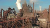 smelting : Aerial view. Blast furnace construction. Metallurgical Plant, Cargo crane