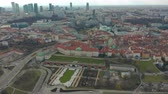 old : Aerial view of Warsaw skyline with Old town