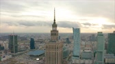 socialismo : Aerial view of Warsaw dawntown, Palace of Culture, Poland