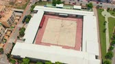 schoolplein : Aerial view. school in Spain. Kids playing in school playground during lunch break