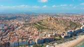 alicante : Alicante, Spain. Aerial view on the city against the sea with a view of the mountain and fortress.