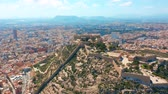 alicante : Aerial view of the Santa Barbara castle in Alicante, Spain. Stock Footage