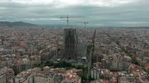 religie : Barcelona, Spain - November 25, 2019: Sagrada Familia cathedral and Barcelona city aerial view in Spain.