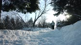 mrożonki : Couple Walking on a Path together during Beautiful Day of Winter Wideo