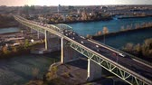 ponte : Aerial Footage of Montreal Jacques-Cartier Bridge, Quebec, Canada during end of Autumn Vídeos