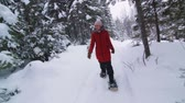 Steadicam Front view of Happy Woman Snowshoeing in Forest Vídeos