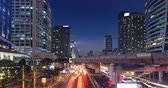 skywalk : 4K timelapes night of bangkok, at skytrain station Chong Nonsi skywalk (BTS) on the Silom Line. Stock Footage