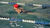 pływak : SLOW MOTION: Female breaststroke. Woman enjoying swimming.