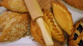 backen : Breads and Baked Goods Large Assortment Fresh Baked and Crispy Close Up