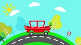 düğüm : Animation riding car. Red car goes on the suburbs. Red car on a sunny day rides along the way. Loop animation.
