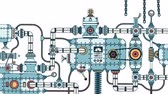 técnica : Incredible complex industrial machine with pipes, valves, hoses, mechanisms, apparatus. looped animation with alpha channel.