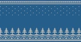 geométrico : Knitted moving seamless ornament with Christmas trees, snow and folk ornaments on a blue background - looped animation.