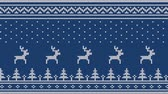 örgü : Animated looped knitted ornament. Running deer over the Christmas tree with Scandinavian patterns. Stok Video