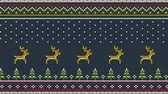 örgü : Animated looped Northern knitted ornament for sweeter with deer running over the spruce forest, national patterns and falling snow.