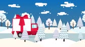 shipping : Truck with gift box tied with a red ribbon and bow rides along the winter forest road. Looped animation Stock Footage