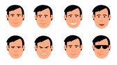 Cartoon mans head set of emoji. Animated emotions: yes, no, joy, shock, resentment, anger, suspicion, cool. Looped with alpha channel. Stock Footage