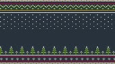 örgü : Animated looped Knitted Scandinavian colored horizontal ornament with Christmas trees in the snow.