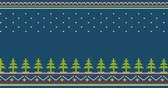 örgü : Seamless knitted pattern with Christmas trees and folk ornaments - looped animation. Stok Video