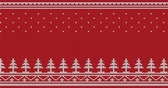 animated : Animated looped knitted sweater ornament - spruce, falling snow, national patterns. White on a red background.