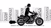 cyklus : Pictogram motorcyclist rides against the backdrop of a large city. Loop animation with alpha channel. Dostupné videozáznamy