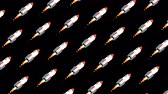 outer : Flying rotating space rockets Stock Footage