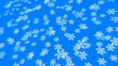 снегопад : Blue Snowflake Pattern Randomly Flying in Space - looped pattern