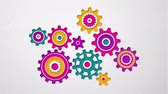 sólido : Beautiful colored gears of various shapes spin into engagement Vídeos