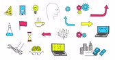 doodle : Set of animated doodle icons Stock Footage