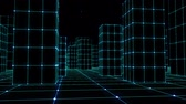 grid : Cyber space city sketchy houses from a glowing grid