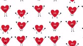 Valentine Love Heart characters - looped seamless background Wideo