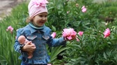 piwonie : Child girl with a doll sniffs the aroma of peony flowers.