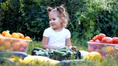 полезный : Child girl and vegetables. Harvest of farming. The baby is vegan. Vegetarian food. Ripe tomatoes, zucchini and cucumbers
