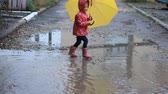 kurtka : Baby girl jumping and playing in puddles in rainy weather under an umbrella.