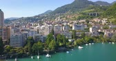 озера : drone view of montreux in summer