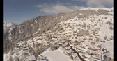aerial view of verbier in winter Stock Footage