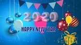 card : Basic text animation about Happy new year 2020. animated video. Highest resolution . stop motion animated letter text