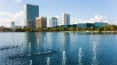 эт : Small fountanes in the Eola lake and park, Eola Park, Orlando, Florida, USA