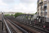 vonat : PARIS FRANCE, JUNE 12, 2017: Metro train timelapse on the pont de Bir Hakeim bridge