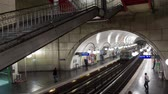 paryż : PARIS, FRANCE - JUNE 14, 207: Arriving and departing trains on metro station timelapse